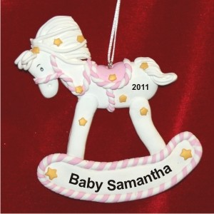 Sweet Baby Rocking Horse Pink Christmas Ornament Personalized by Russell Rhodes