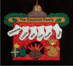 Cozy Fireplace for Family of 6 Personalized Christmas Ornament