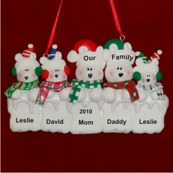 Arctic Polar Bear Family of 5 Personalized Christmas Ornament