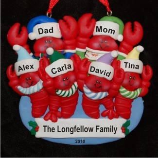 6 Lobsters - Family Personalized Christmas Ornament