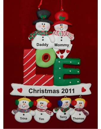 LOVE - Family Christmas for 6 Christmas Ornament