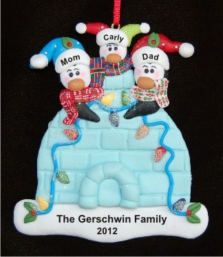 Igloo Family of 3 Personalized Christmas Ornament