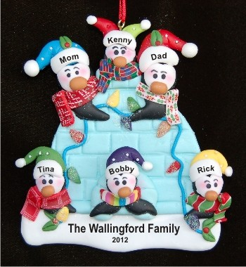 Igloo Family of 6 Personalized Christmas Ornament