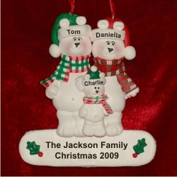 3 - Polar Bear Family Personalized Christmas Ornament