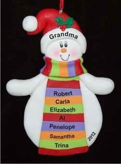 Grandma with Striped Scarf Personalized Christmas Ornament