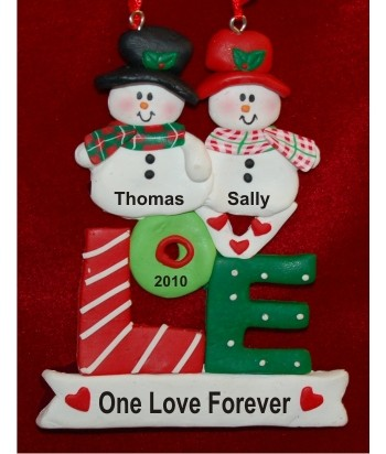 Snowman LOVE Personalized Christmas Ornament