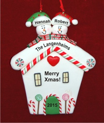 Snowman House Couple Christmas Ornament Personalized by Russell Rhodes