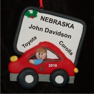 New Car for Boy Personalized Christmas Ornament