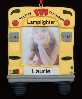 1st Grade Bus Photo Frame Personalized Christmas Ornament