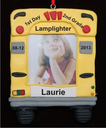 2nd Grade Bus Photo Frame Personalized Christmas Ornament