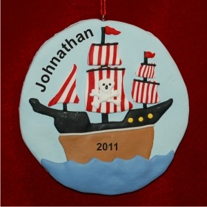 Pirate Ship A-Hoy Christmas Ornament Personalized by Russell Rhodes