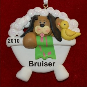 Rub a Dub Dog Personalized Christmas Ornament
