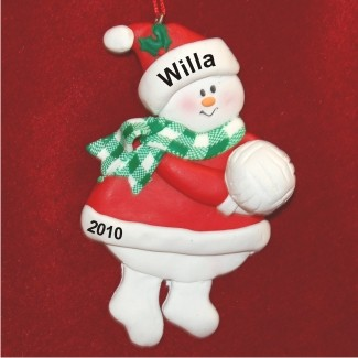Snowman Volleyball Personalized Christmas Ornament