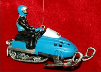 3D Blue Deeptrack Snowmobile Christmas Ornament