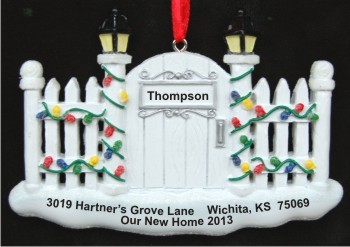 Picket Fence New Home Christmas Ornament Personalized