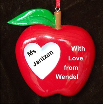 Apple of My Eye Teacher Christmas Ornament