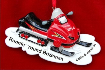 Racing Red Snowmobile for One or Two Christmas Ornament Personalized by Russell Rhodes