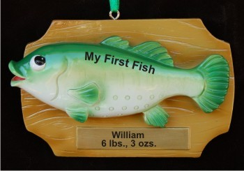 Bass on Plaque Christmas Ornament Personalized