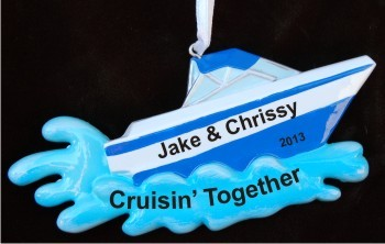 Couple Together: Fun Boating on the Lake Christmas Ornament Personalized Personalized by Russell Rhodes