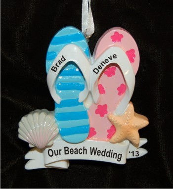 Flipflops: Our Beach Wedding Ornament