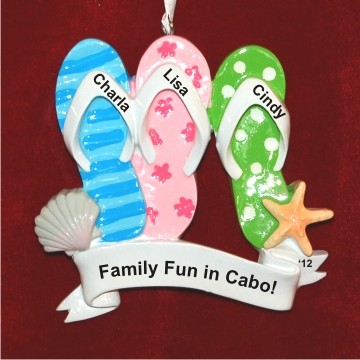 Let's Go To the Beach for Three Personalized Christmas Ornament