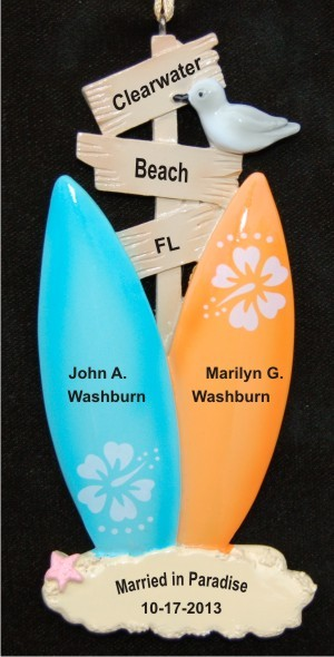 Our Beach Surfin Cool Wedding Christmas Ornament