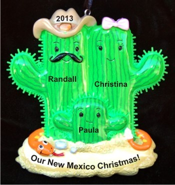 Cactus Family of 3 Christmas Ornament Personalized