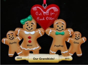 Made for Each Other - Grandparents with 2 Grandkids Christmas Ornament Personalized