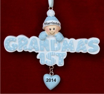 Grandma's 1st Grandson Personalized Christmas Ornament