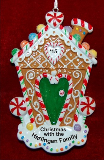 Gingerbread Dreams of Home Christmas Ornament Personalized by Russell Rhodes