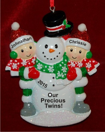 Our Twins Building Large Snowman Christmas Ornament Personalized by Russell Rhodes