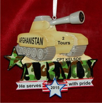 U.S. Army Tank Honor of Service Christmas Ornament Personalized by Russell Rhodes