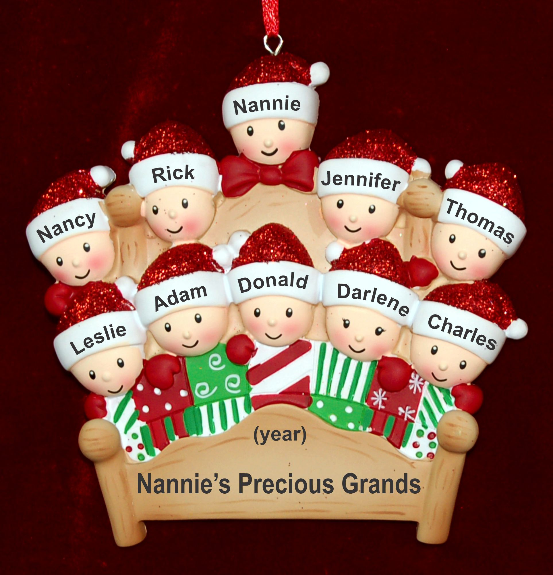 Personalized 1 Grandparent and 9 Grands Christmas Ornament 4-Poster Fun Personalized by Russell Rhodes