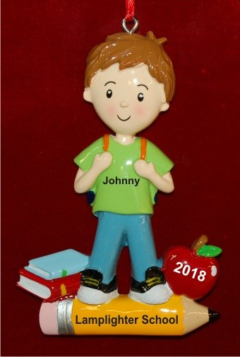 Our Boy's First Day of School Personalized Christmas Ornament Personalized by Russell Rhodes