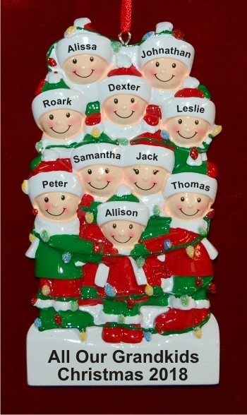 Holiday Lights Family of 10 Personalized Christmas Ornament Personalized by Russell Rhodes