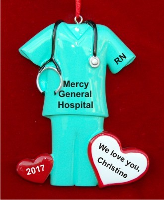 Green Medical Scrubs with Heart Christmas Ornament Personalized by Russell Rhodes