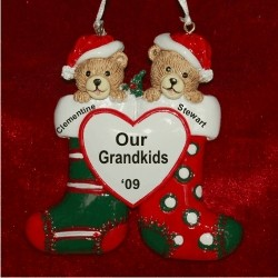 2 Grandkids Christmas Stockings Personalized Christmas Ornament