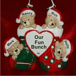 4 Bears Just the Kids Christmas Stockings Personalized Christmas Ornament