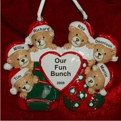 6 Bears Just the Kids Christmas Stockings Personalized Christmas Ornament