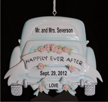White Limo Wedding Ornament Personalized Christmas Ornament