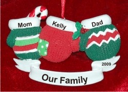 3 Mittens Family Personalized Christmas Ornament
