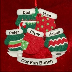 5 Christmas Mittens Our Family Personalized Christmas Ornament