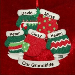 5 Grandkids Christmas Mittens Personalized Christmas Ornament