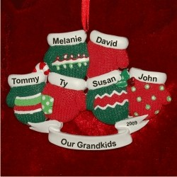 6 Grandkids Christmas Mittens Personalized Christmas Ornament