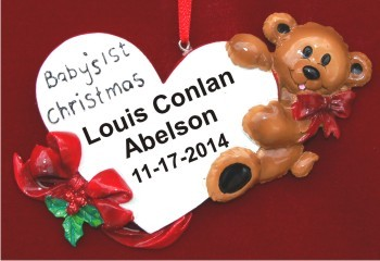 Baby's First Baby Bear Loving Heart for Boy Christmas Ornament Personalized by Russell Rhodes