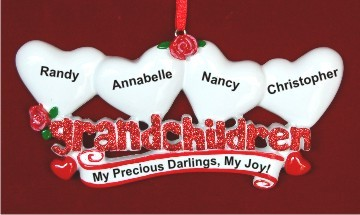 From Grandparents to 4 Grandkids Christmas Ornament Personalized by Russell Rhodes
