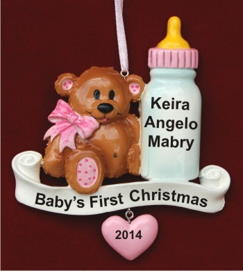 Baby Bear & Bottle Pink Personalized Christmas Ornament