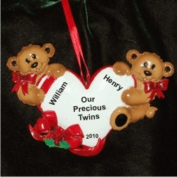 For the Love of Twins Personalized Christmas Ornament
