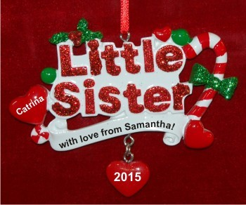 My Cool Little Sister Christmas Ornament Personalized by Russell Rhodes