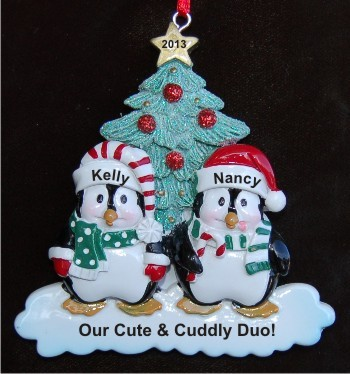 2 Styling Penguins, Our Fabulous Grandkids Personalized Christmas Ornament